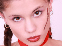 Little Caprice dildoing her constricted bawdy cleft in sexy devil dress